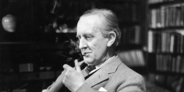 2nd December 1955:  British writer J R R Tolkien (1892 - 1973), enjoying a pipe in his study at Merton College, Oxford, where he is a Fellow. Original Publication: Picture Post - 8464 - Professor J R R Tolkien - unpub.  (Photo by Haywood Magee/Picture Post/Getty Images)