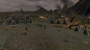 The blasted area begins abruptly at the plains of Dagorlad, with the beauty of Ithilien only paces away
